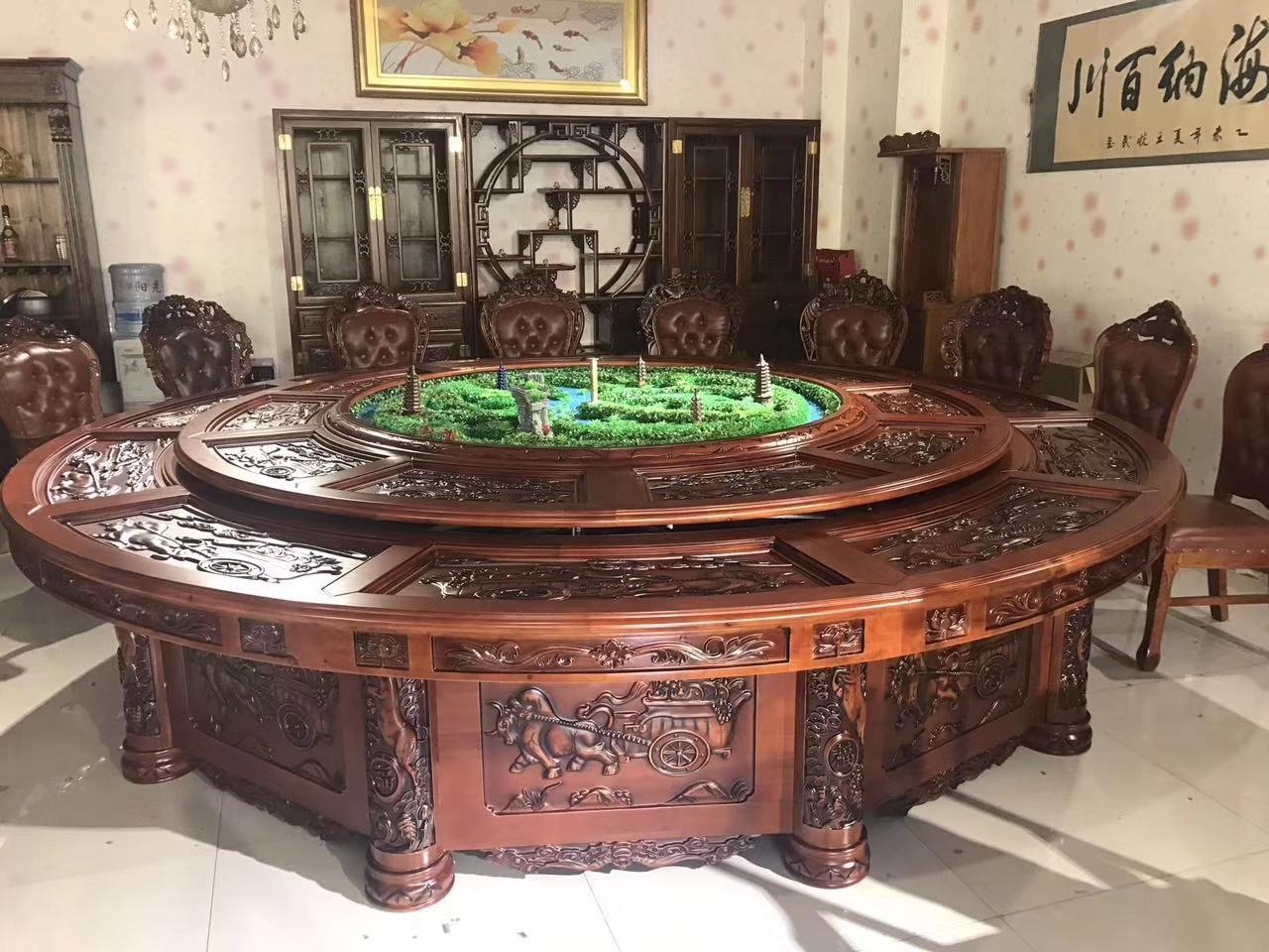 3米橡木雕花电动圆桌 酒店圆桌