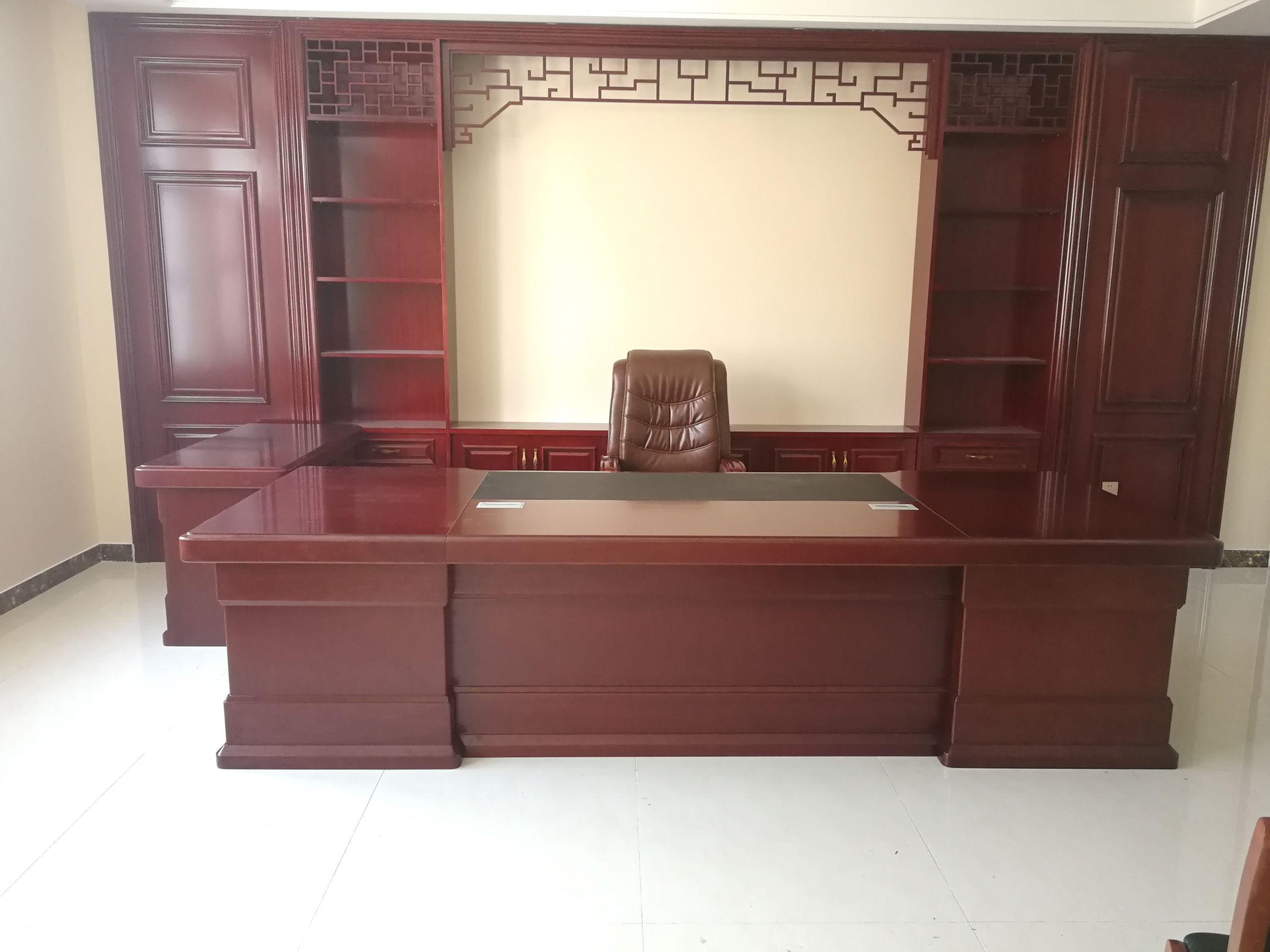 2.6米木皮办公桌 老板桌 班台